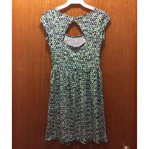 BeBop Dresses - BeBop Printed Turquoise Cutout Back Skater Dress